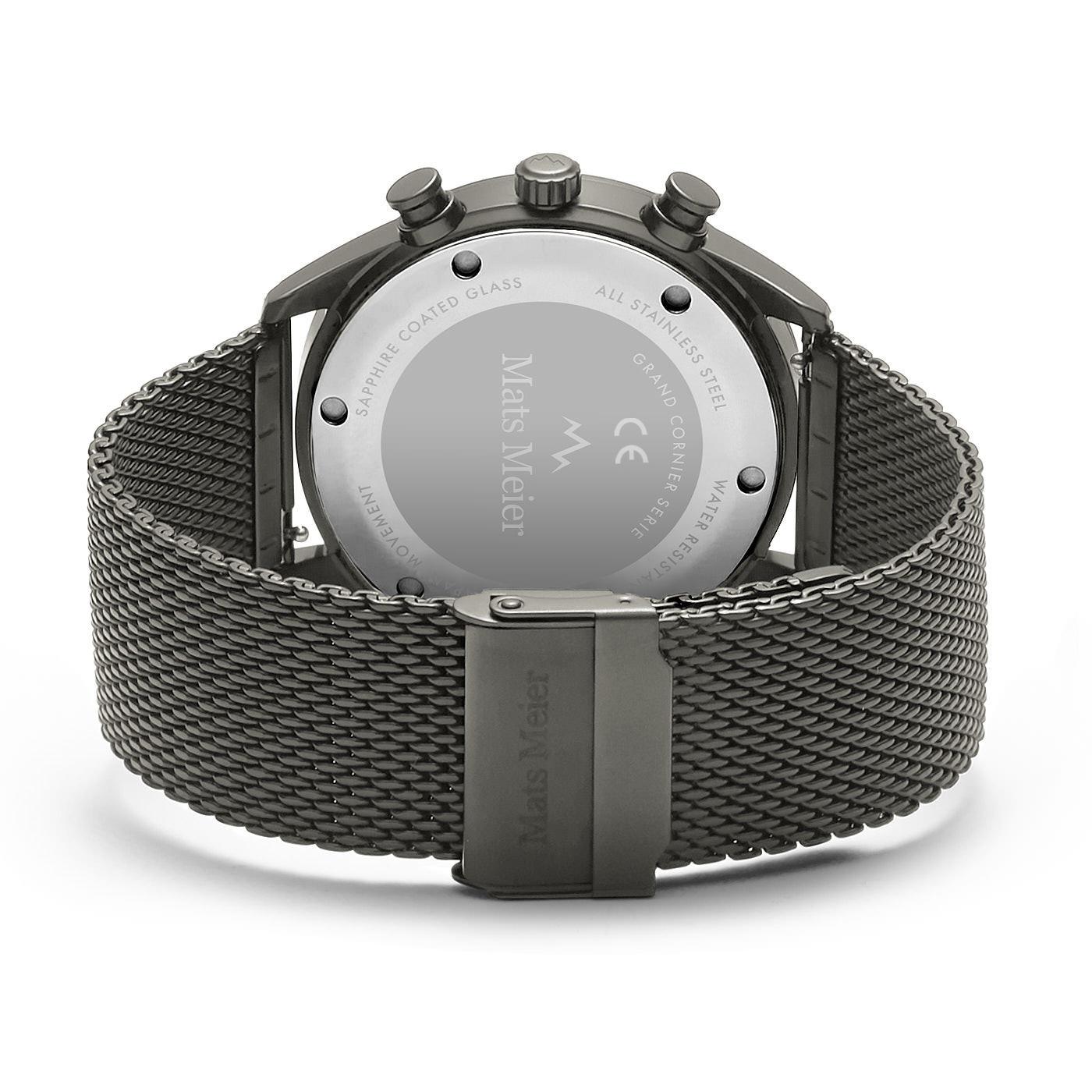 Mats Meier Grand Cornier kronografklocka matt grå mesh