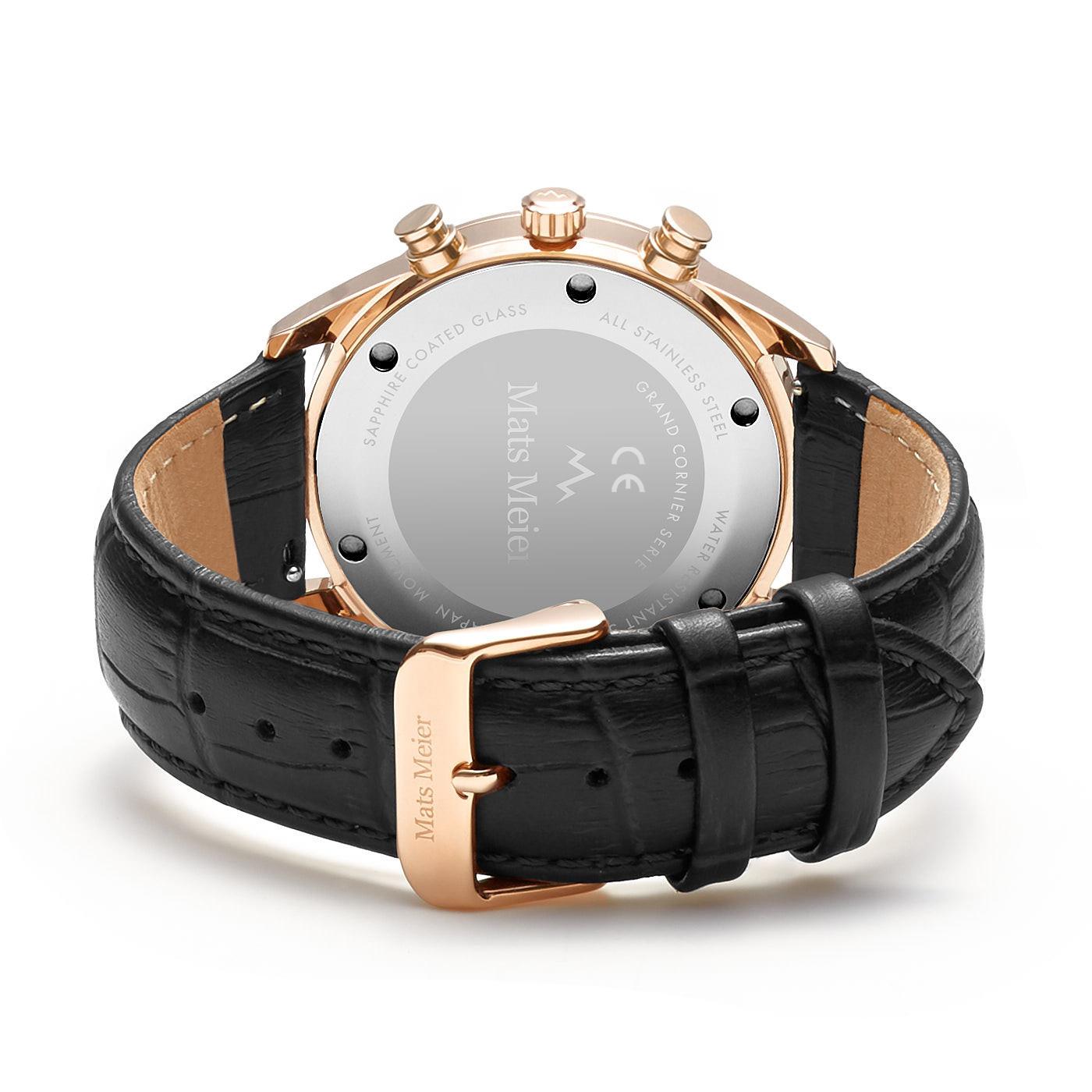 Mats Meier Grand Cornier chronograaf herenhorloge zwart en rosé goudkleurig