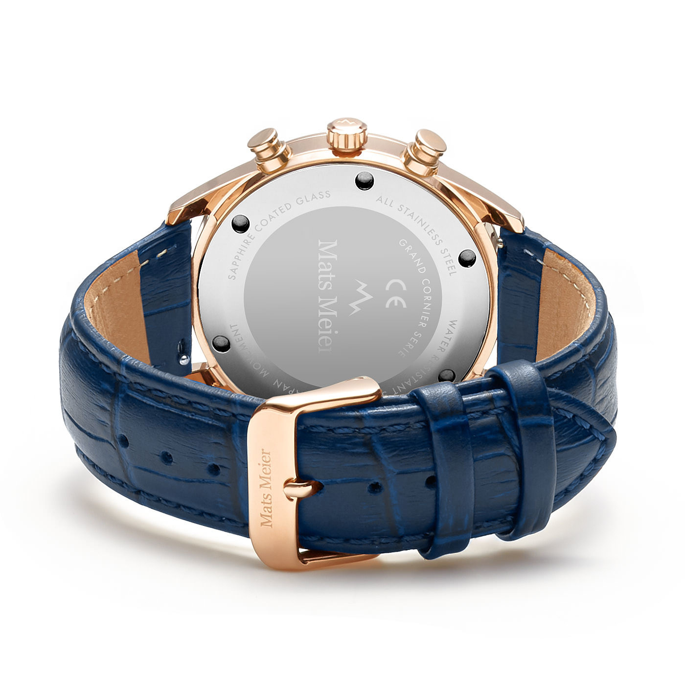 Mats Meier Grand Cornier chronographe bleu / couleur or rose