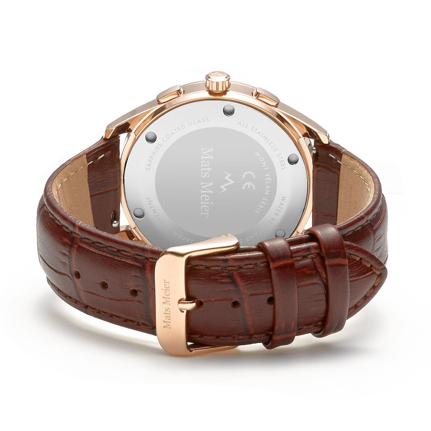 Mats Meier Mont Vélan montre chronographe noir / rosé / marron