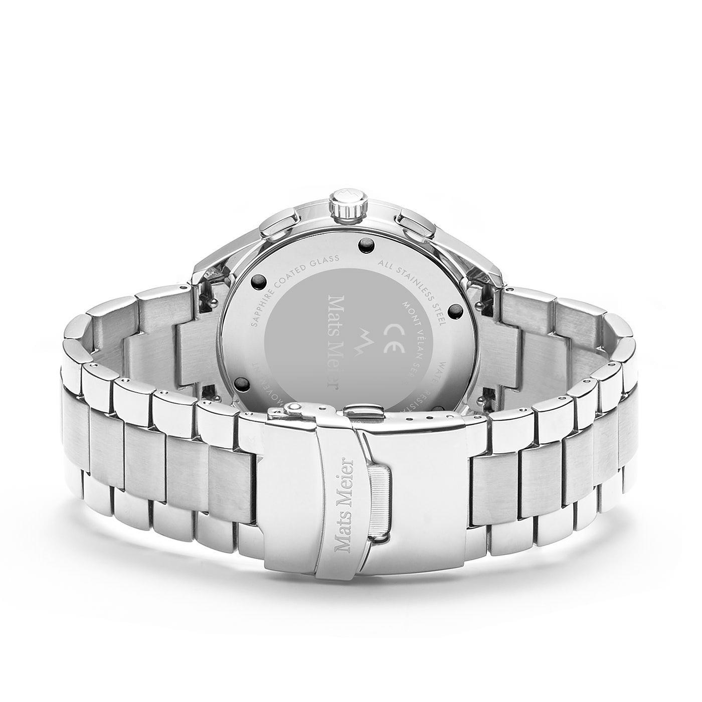 Mats Meier Mont Vélan kronografklocka svart/silverfärgat stål