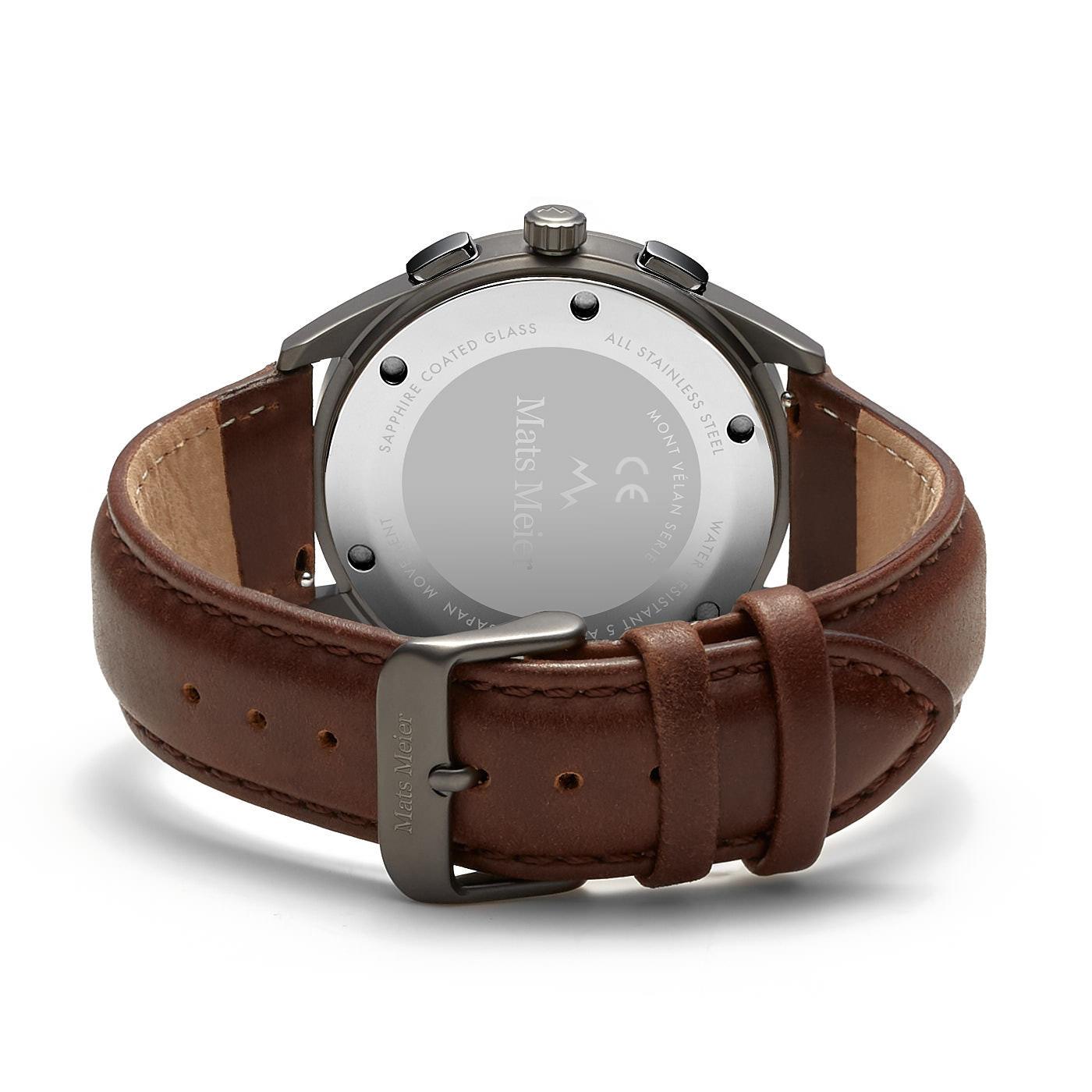 Mats Meier Mont Vélan chronograaf herenhorloge bruin en grijs
