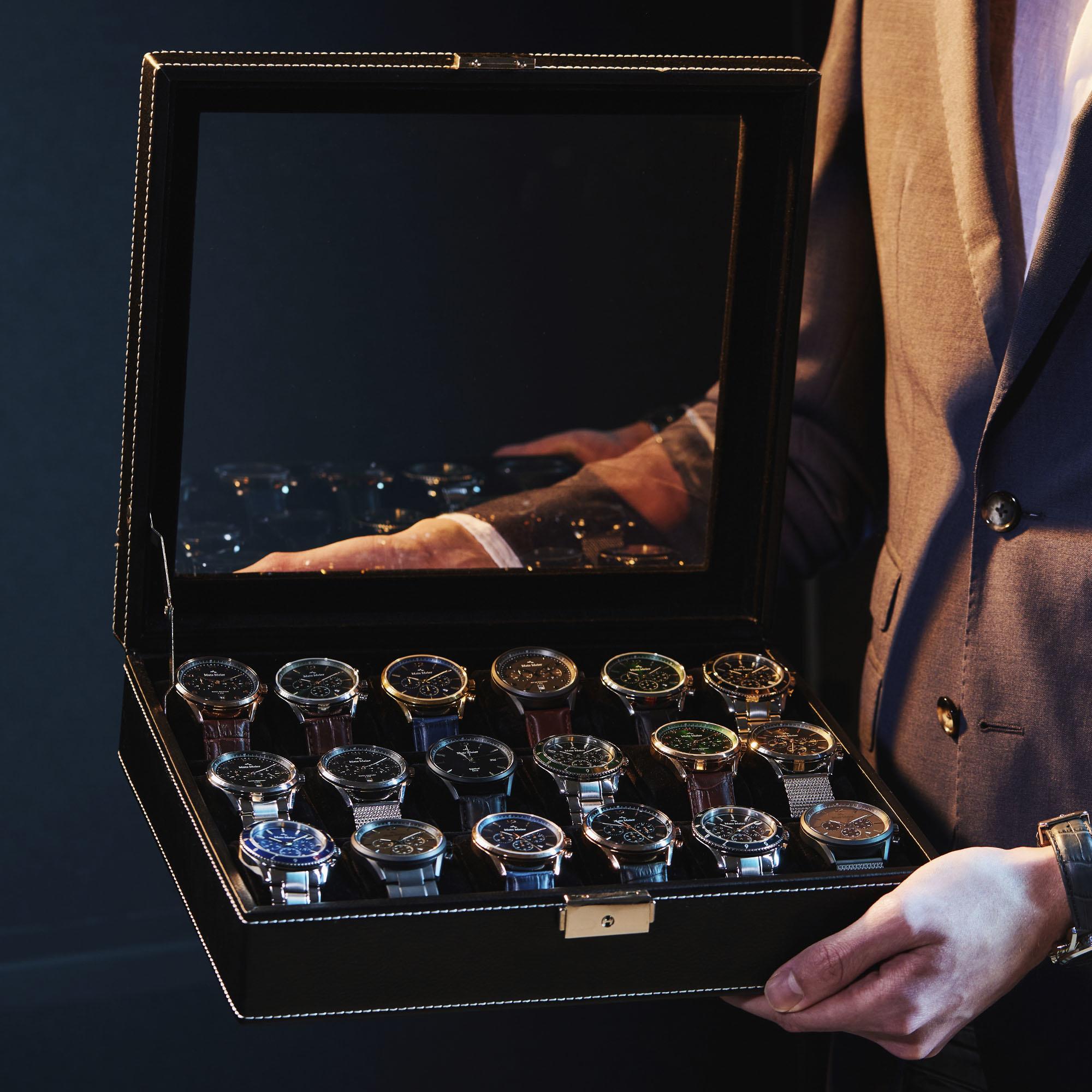 Mats Meier Mont Fort Uhrenbox schwarz - 18 Uhren