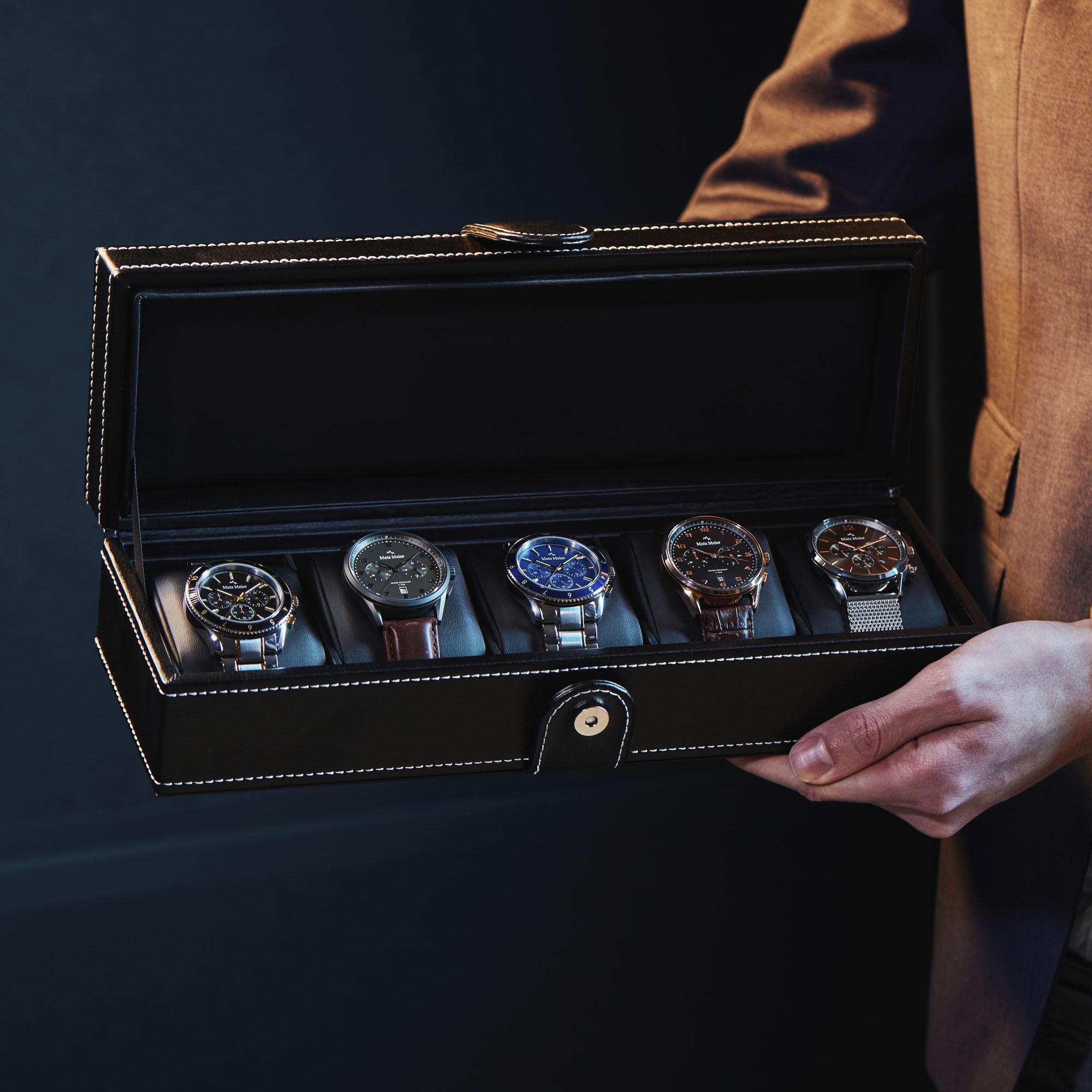 Mats Meier Mont Fort Uhrenbox schwarz - 5 Uhren