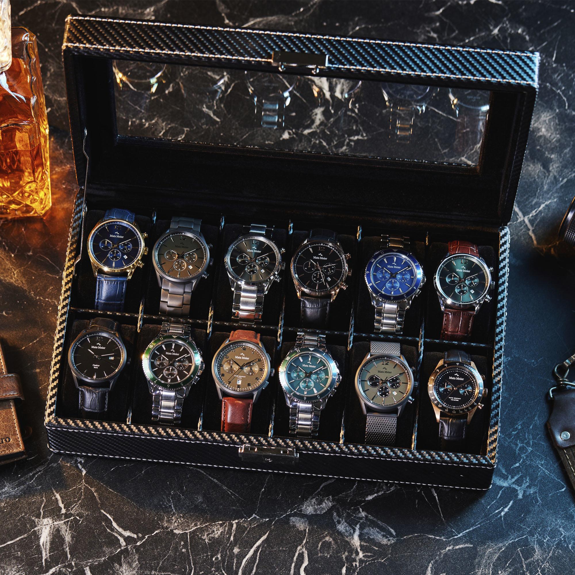 Mats Meier Mont Fort horlogebox zwart - 12 horloges