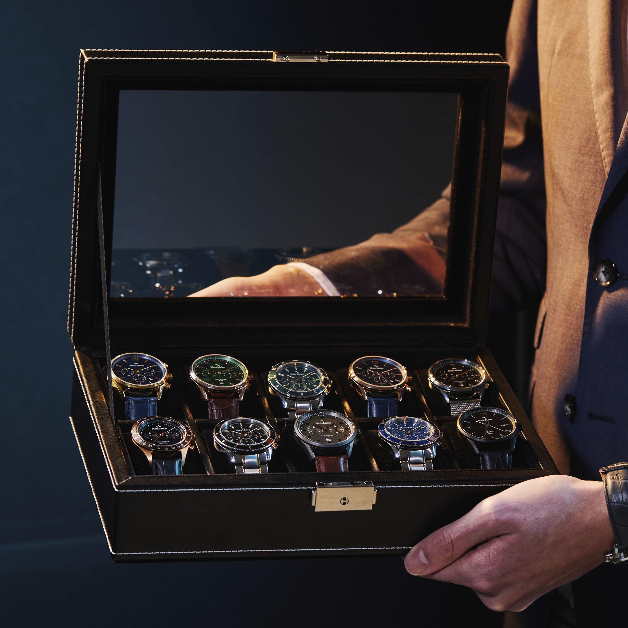 Mats Meier Mont Fort Uhrenbox schwarz - 10 Uhren