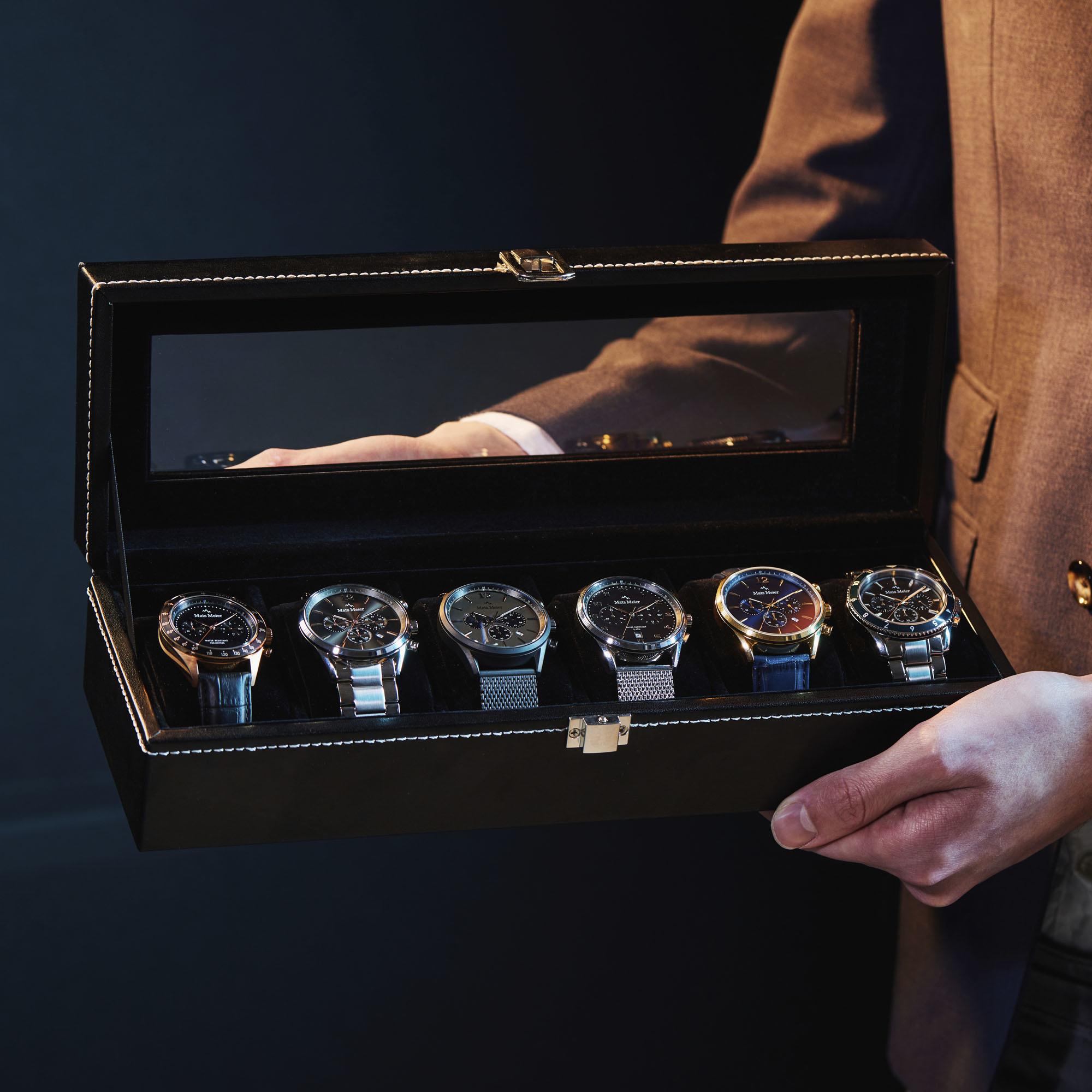 Mats Meier Mont Fort boîte à montres noir - 6 montres