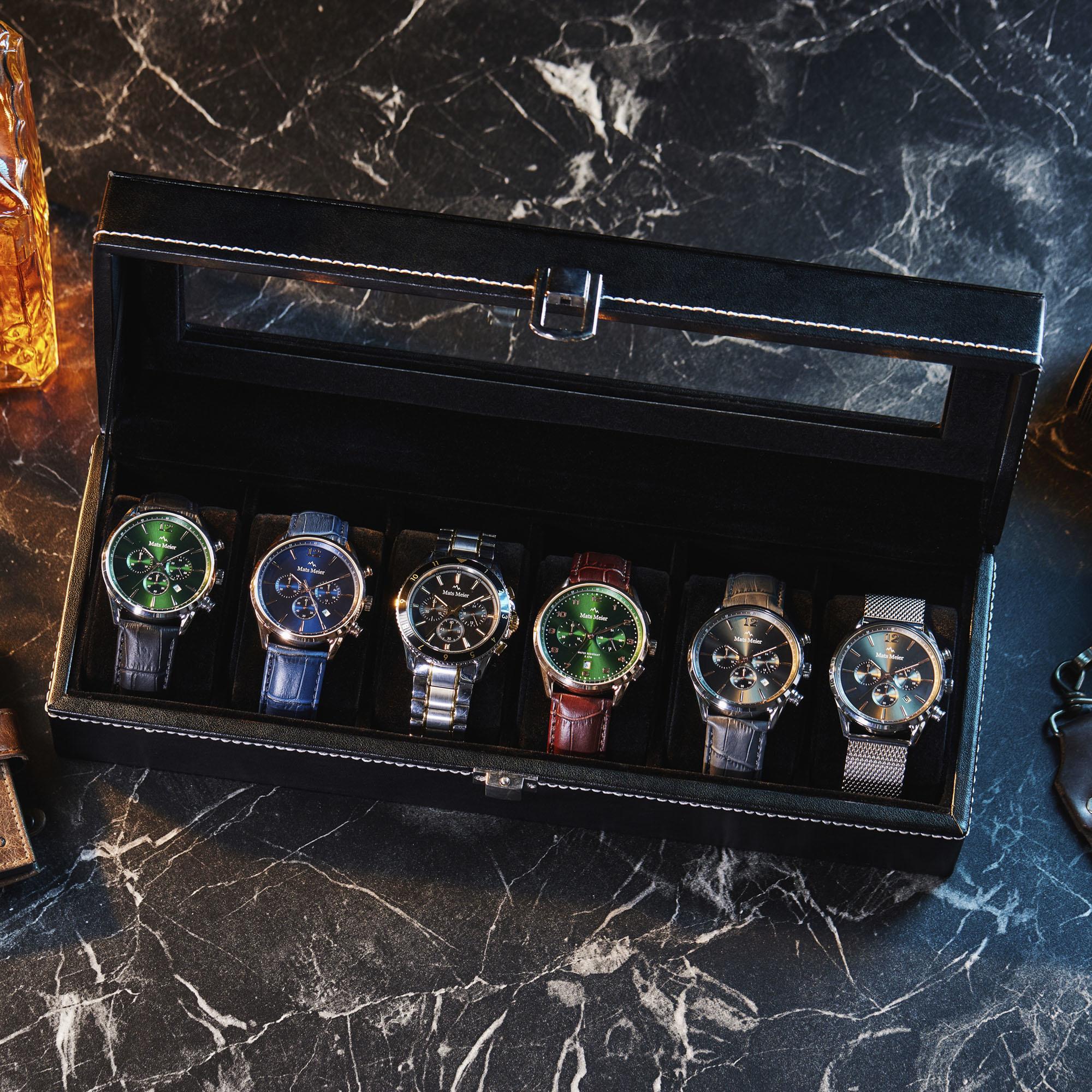Mats Meier Mont Fort Uhrenbox schwarz - 6 Uhren
