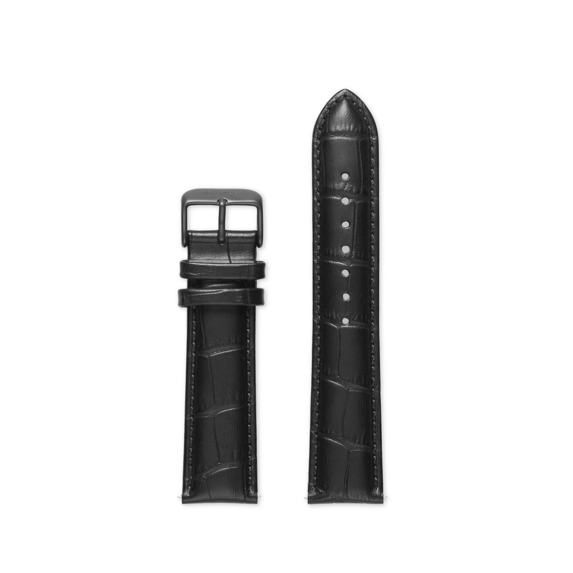 Mats Meier Arosa Racing Uhrenarmband Leder 22 mm Kroko schwarz