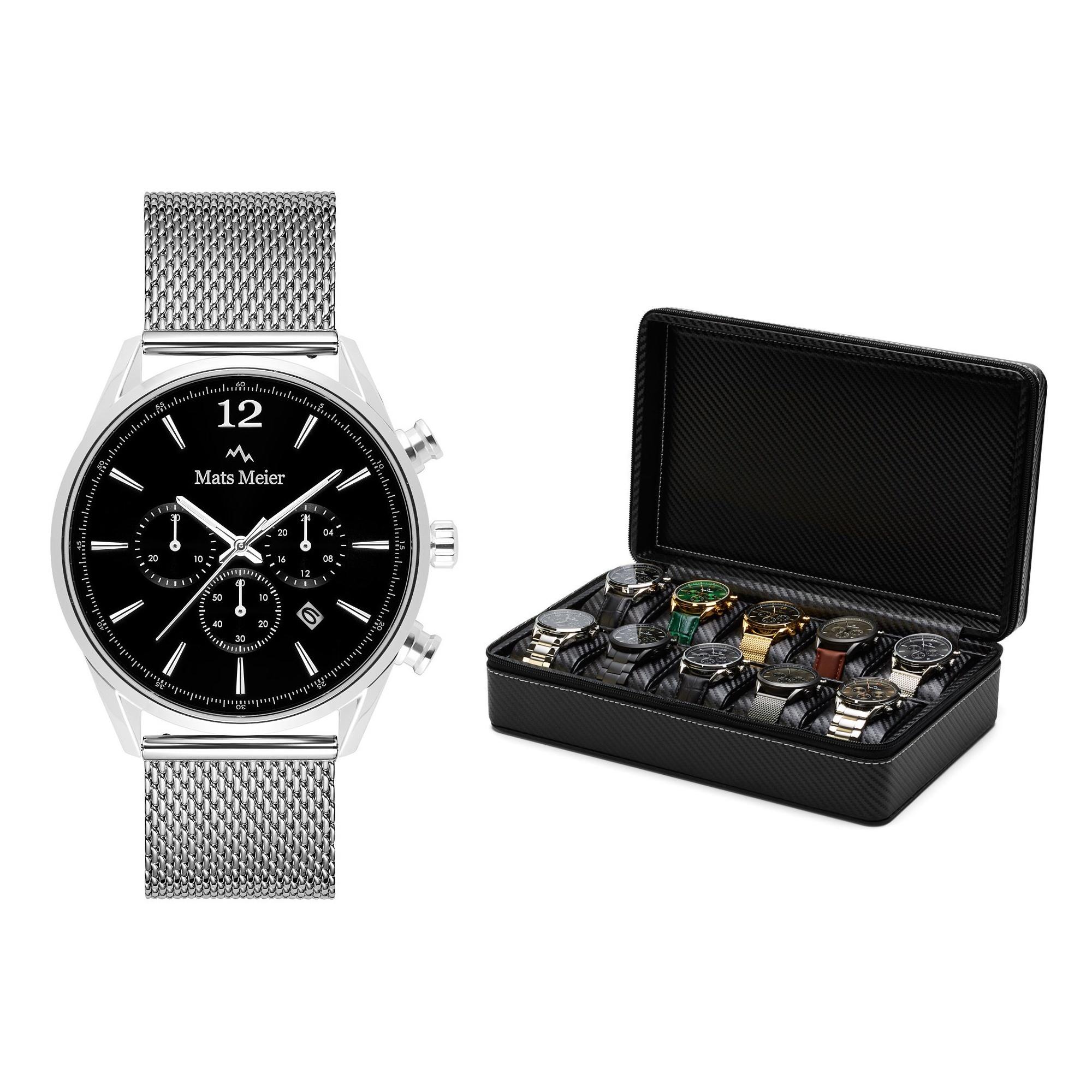 Mats Meier Grand Combin set regalo cronografo e porta orologi
