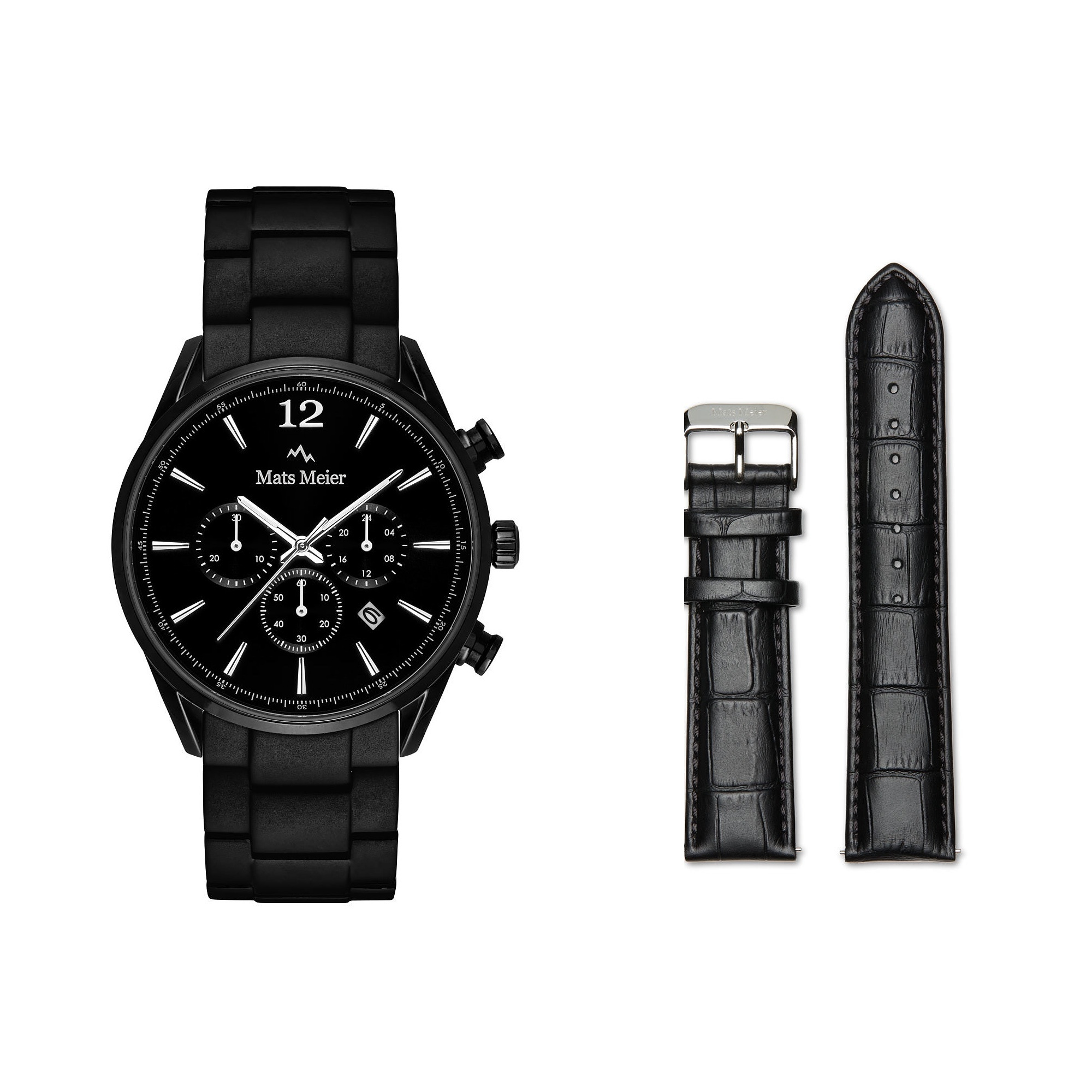 Mats Meier Grand Combin chronograph mens watch black and strap giftset
