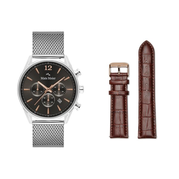 Mats Meier Grand Combin chronograph mens watch silver colored and strap giftset