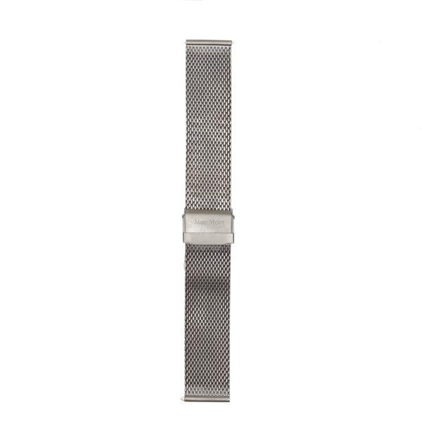 Mats Meier Mont Vélan Mesh-Edelstahl Uhrenarmband 22 mm silberfarben