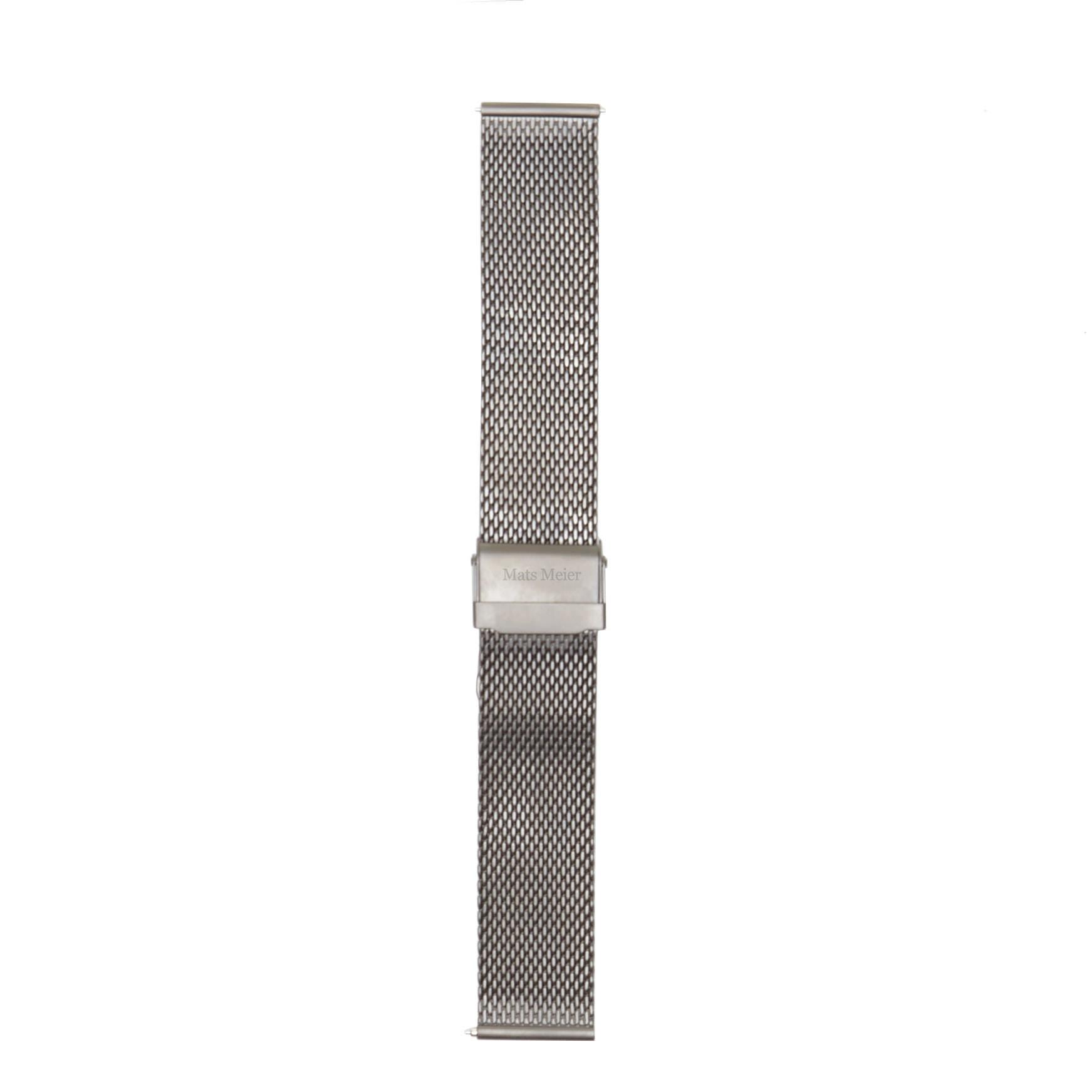 Mats Meier Mont Vélan stalen mesh horlogeband 22 mm zilverkleurig