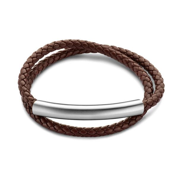 Mats Meier Dent Blanche Double braided bracelet marron
