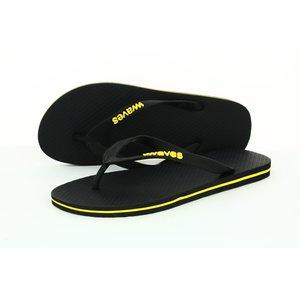 Teen slippers zwart met gele streep   duurzaam vegan rubber