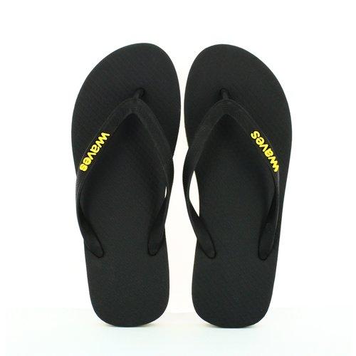 Teen slippers zwart met gele streep
