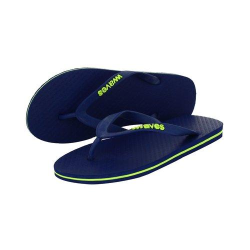 Teen slippers blauw met limoen streep   duurzaam vegan rubber
