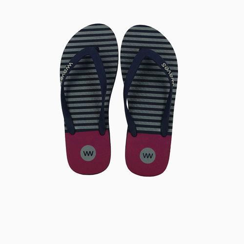 Teen slippers donkerblauw gestreept