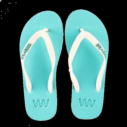 Teen slippers  lichtblauw - wit