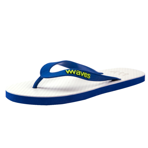 Teen slippers wit - donkerblauw
