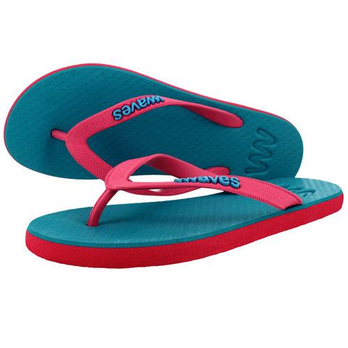 Teen slippers roze - turquoise  duurzaam vegan rubber