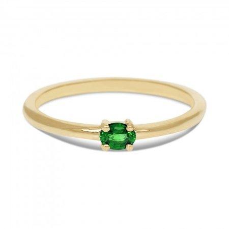 MissSpring Miss Spring Ring MSR570 geelgoud met ovale smaragd