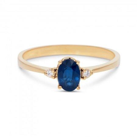 MissSpring Miss Spring Ring MSR583 Allerliefste geelgoud met ovale blauw saffier en 0.03ct PW 604894
