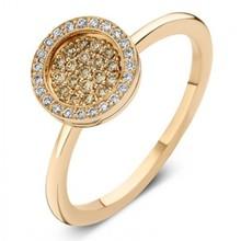 ROOS 1835 Roos Moondrops Ring 14k Roségoud met 0.39ct cognac diamant M006R23R14-B