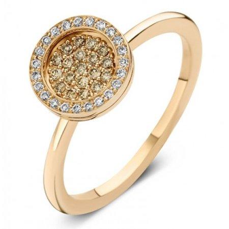 ROOS 1835 Moondrops Ring 14k Roségoud met 0.39ct cognac diamant M006R23R14-B
