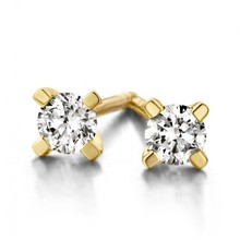 Mrs.Janssen MRS.Janssen Oorstekers 14k geelgoud solitair met diamant 0.15ct W/Si 25362