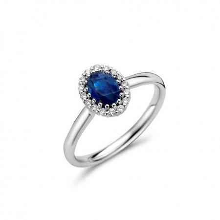 Mrs.Janssen MRS.Janssen Ring 14k witgoud met 0.16ct diamant en blauwe saffier 600677
