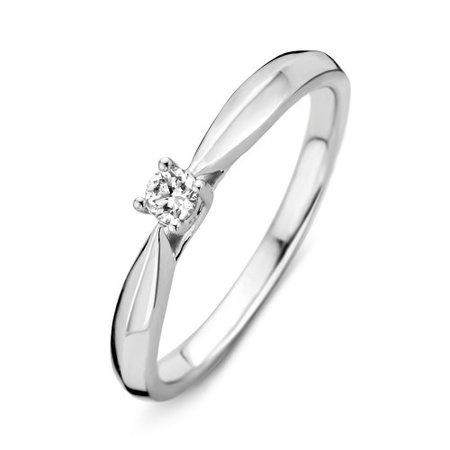 MRS.Janssen Ring 14k witgoud met diamant 0.09crt 604769