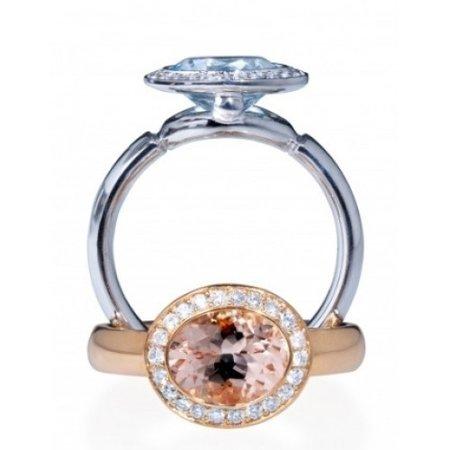 Mrs.Janssen Mrs.Janssen Ring Balance 14k Rosegoud met Morganiet en Diamant 600680