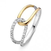 Mrs.Janssen Mrs.Janssen Ring bicolor goud 14k diamant 0.18crt RG416352