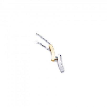 R&C R&C Hanger Odettte 14k Geel- Witgoud met 0.03ct R/Si diamant H0057-3-SR-GW