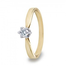 R&C R&C Ring Aumone 14k geelgoud met 0.15ct R/Si diamant RIN0029G-0.15SIR