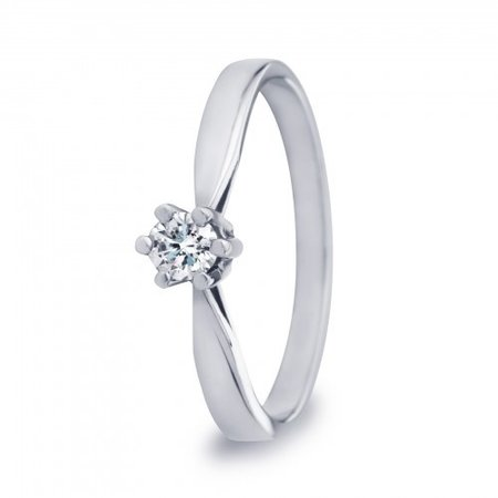 R&C R&C Ring Aumone 14k witgoud met 0.28ct R/Si diamant RIN0029-0.28SIR