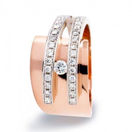 R&C R&C Ring Galla Riche 14k Roségoud met 0.35ct diamant RIN0052-PAVE-RW