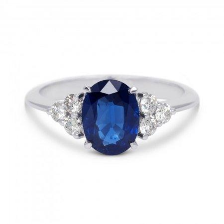 R&C R&C Ring Romance 14krt witgoud met briljant 0.30crt si river en blauw saffier R4069SAWG