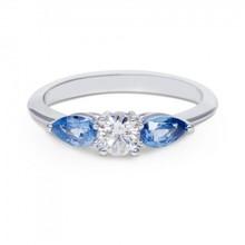 R&C R&C Ring Romance 14krt witgoud met briljant 0.36crt si river en blauw saffier R4039SAW