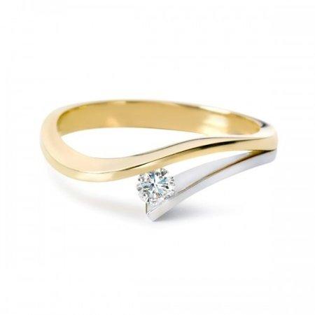 R&C R&C Ring Victoire 14k geel-witgoud met 0.06ct R/Si diamant RIN0038GW-0.06SIR