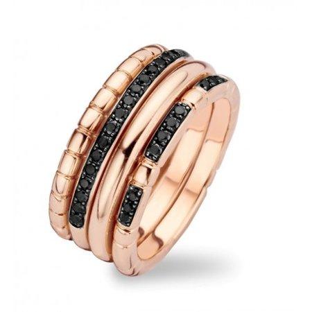 Tirisi Moda TIRISI Ring Amsterdam 18k Roségoud met zwarte diamant TR9675BLDP