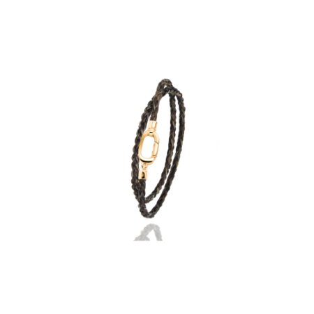 Albanu Albanu Armband 18k Geelgoud met bruin Gevlochten Paardenhaar EMS016D5