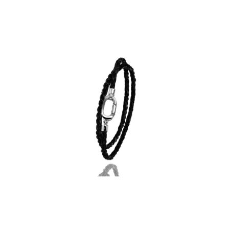 Albanu Albanu Armband 18k Witgoud met zwart gevlochten paardenhaar 30.13.12