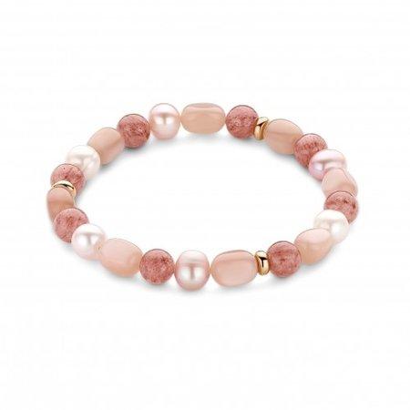Mrs.Janssen MRS.Janssen Armband 18k roségoud met maansteen en zoetwaterparel 602946