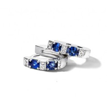 HuisCollectie Huiscollectie Creolen 14k witgoud met blauw saffier en diamant 0.08ct HSI 604191