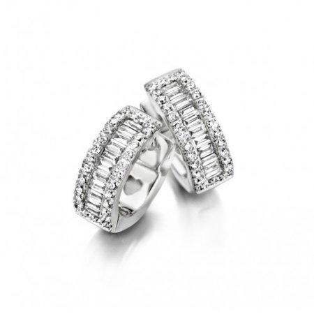 HuisCollectie HuisCollectie Creolen 18k witgoud met 0.60ct briljant en baguette G/Si diamant