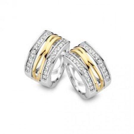 HuisCollectie HuisCollectie Creolen zilver met 14k geelgoud en zirkonia OF625210