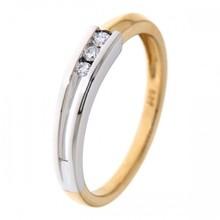 HuisCollectie HuisCollectie Ring 14k bicolor met 3 diamant 0.08 crt RG414602